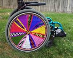 Image result for wheelchair wheel covers made from crochet Wheel Cover, Chair, Crochet, Image, Ganchillo, Stool, Crocheting, Knits, Chrochet