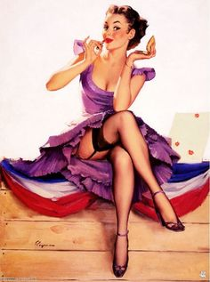 1940s Pin-Up Girl Putting On My Makeup Picture Poster Print Art Pin Up