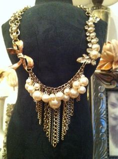 Statement Necklace With Pearls $40