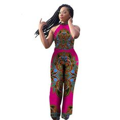 BintaRealWax Womens Jumpsuits Dashiki African Print Sleeveless Long Pants Africa Style Plus Size Clothing One Piece. African Wear, African Attire, African Dress, African Outfits, African Fabric, Trendy Fashion, Fashion Outfits, Fashion Tips, Fashion Styles