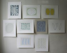 Set of nine nature inspired original screenprints by Emma Lawrenson.