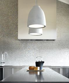 Beacon Lighting - Tadao industrial 1 light flat top  shaped pendant in light weight concrete and chrome ceiling canopy, shade finish may vary