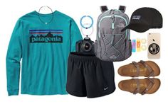 """going to my brother's baseball game at 8 pm"" by judebellar03 ❤ liked on Polyvore featuring Patagonia, NIKE, The North Face, QVC, Eos, Maybelline, NLY Accessories and Birkenstock"