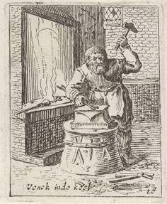 Gillis van Scheyndel (I) | Smid, Gillis van Scheyndel (I), Frederik de Wit, 1630 - 1706 | In een smederij bewerkt een smid met een hamer een stuk ijzer op een aambeeld. Naast hem een haard. De prent maakt deel uit van een serie van 32 prenten met genretaferelen.