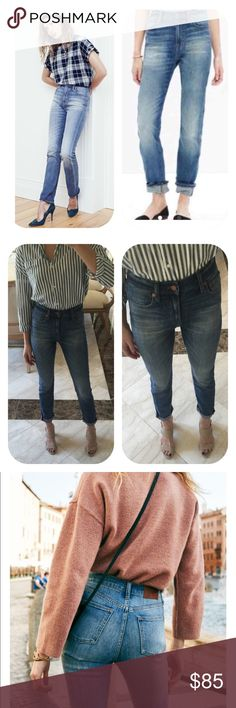 """NWOT madewell high waisted jeans New no tags,worn once for modeling,original price 138$.Wear-every-day jeans with a '90s supermodel-inspired high rise that perfectly accentuates the waist. Made from some of the best denim in the world this pair is a year-rounder.  Sits slightly above hip. Fitted through hip and thigh, with a straight leg. Front rise: 10"""". Inseam: 31"""". Leg opening for size 25: 12"""". Premium Candiani denim. 98% cotton/2% elastane. Machine wash. Inside brand tag crossed out with…"""