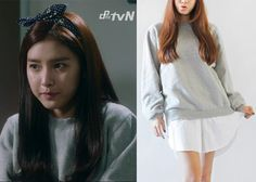 "Kim So-Eun 김소은 in ""Liar Game"" Episode 1.  StyleNanda Layered Vintage Sweatshirt in Melange Gray #Kdrama #LiarGame 라이어 게임 #KimSoEun"