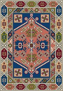 Natalia's Fine Needlework: New Pattern of the Month - Dollhouse Needlepoint Area Rug KAZAK Needlepoint Patterns, Loom Patterns, Cross Stitch Patterns, African Crafts, Dot Art Painting, Square Rugs, Curtain Patterns, Cross Stitch Designs, Rugs On Carpet