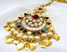 Other Asian E Indian Jewelry 11313: Heavy Gold Plated 22Kt Traditional Multi Colored Kundan Pearl Beaded Maang Tikka -> BUY IT NOW ONLY: $75 on eBay!