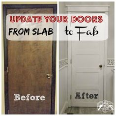 Let me just come right out and say it. I HATE slab doors. For real… And you know what really stinks? I have a 3000 square foot house FULL of them! 15 of them to be exact… and they aren't even remotely pretty. They're wood with wood trim which in many cases is beautiful, but …