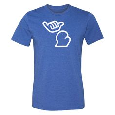 Blue Mens-Unisex #HangTenMichiganTShirt In Royal Blue with White Cartoon graphics. Upper Peninsula is the Hang Loose symbol or hangten symbol.