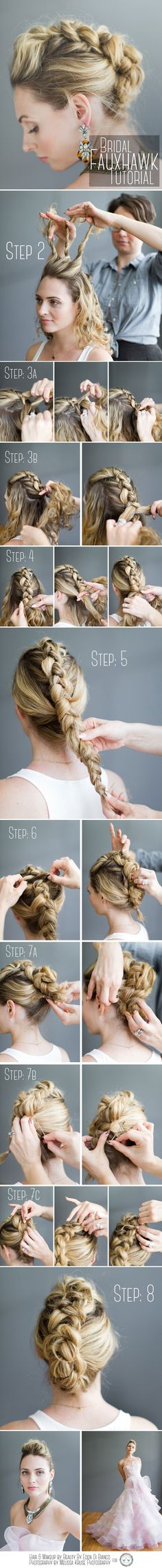 Easy Braided faux hawk Step by Step Hair tutorial Love Hair, Great Hair, Gorgeous Hair, Beautiful, Pretty Hairstyles, Braided Hairstyles, Dance Hairstyles, Hairstyles 2016, Summer Hairstyles