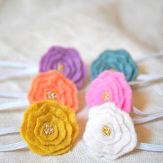 Infant/Toddler Flower Headband - Small Peony Hair Accessory - Small Floral Headband - Wool Felt Hair Accessory - foldingchairdesigns