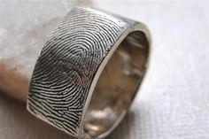 Fingerprint Custom  Ring Wedding Band in by rockmyworldinc on Etsy