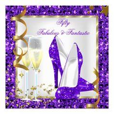 Fabulous 50 Fantastic Purple White Gold Birthday Custom Invitation