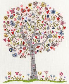 Kit broderie point de croix Bothy Threads Love Tree de Kim Anderson XKA2