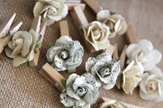 Handmade Paper Clothes Pins Mini Paper Flowers by Summertimedesign, $14.95