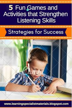 "I'm happy to continue a discussion on listening skills from my prior blog post, ""What are the 7 Root Origins of Poor Listening Skills?""  This past blog reviewed the cognitive skills behind listening.  Now, I would love to share the games and activities that I use to improve listening skills in my own students... #listening skills #following directions Auditory Processing Activities, Listening Skills, Listening Activities, Behavior Interventions, Art Therapy Activities, Dyslexia, Dysgraphia, Help Teaching, Social Skills"