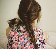 pretty fishtail! and cute kitty!