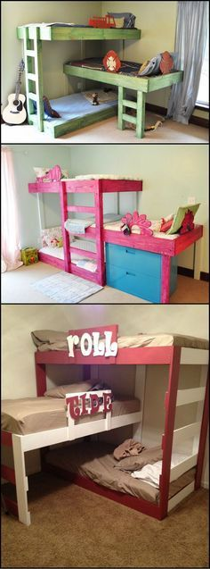 How To Build A Triple Bunk Bed For The Kids  http://theownerbuildernetwork.co/3tgw  To efficiently use a small space things need to be customized. This concept of building a triple stacked bunk bed is the perfect solution. The most obvious reason is that you can fit three kids in one bedroom. But what makes it even better is that you can configure the bunk bed to fit the bedroom.