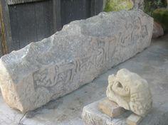 Sculpted hogback stone from Sockburn