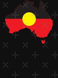 """Aboriginal Flag In Australia Map #1"" T-shirt by SalahBlt | Redbubble Aboriginal Flag, Australia Map, Tshirt Colors, Wardrobe Staples, Classic T Shirts, Heather Grey, Fabric, Tejido, Map Of Australia"