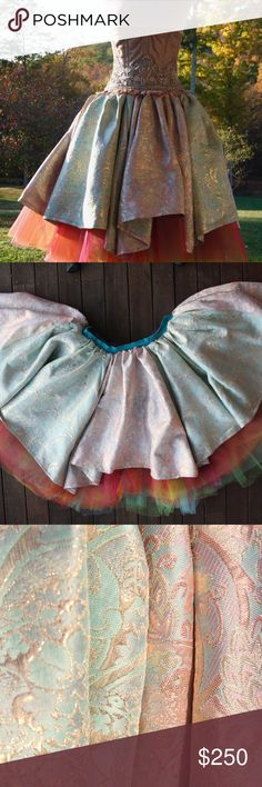 Rainbow Petticoat Brocade Fantasy Bridal Skirt Handmade by me <3 Not only is this bad boy full circle, it is actually a full TWO circles! Each layer of tulle is it's own color for an astonishing 8 layers (red, pink, orange, yellow, green, two shades of blue, & purple)! Brocade is in two color panels with pastel blue, yellow, and pinks. Alternating, handkerchief hem line. Best suited for XL-3XL due to elastic band. Live your rainbow Labyrinth dreams! Perfect for festival season or the fantasy…