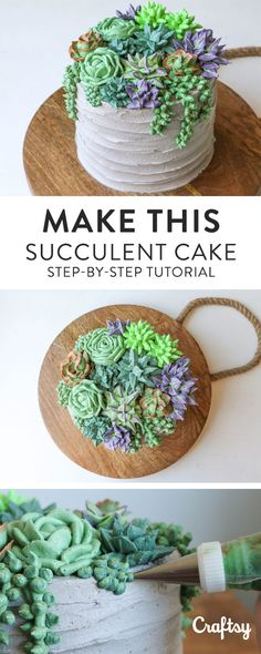 Make a jaw-dropping succulent cake! This step-by-step tutorial will teach you to… Make a jaw-dropping succulent cake! This step-by-step tutorial will teach you to pipe five different kinds of succulents with buttercream. Cake Decorating Frosting, Creative Cake Decorating, Cake Decorating Techniques, Cake Decorating Tutorials, Creative Cakes, Decorating Ideas, Cakes To Make, Fancy Cakes, How To Make Cake