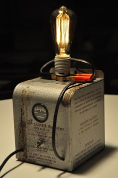 Vintage Battery Charger Lamp. Rewired with a touch dimmer.