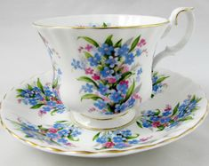 Royal Albert Springtime Series Forget-Me-Not Tea Cup and Saucer, Vintage Bone China