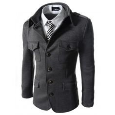 Charcoal Grey Single Breasted Slim Fit Stretch Jackets for young stylish guys. See our Collection :- http://goo.gl/4Lsnpv #koreanfashion