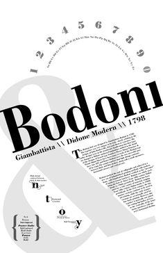 Bodoni Type Poster on Behance Web Design, Layout Design, Graphic Design Layouts, Graphic Design Posters, Graphic Design Typography, Game Design, Book Design, 3d Typography, French Typography
