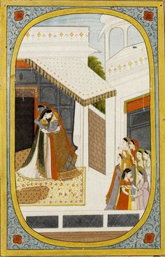 Krishna disguised as gopi, in women's clothes, embracing Radha. Painting from a Rasika Priya series. Pahari, Kangra, ca. 1820-1825. Best view: http://media.vam.ac.uk/collections/img/2013/GD/2013GD5451_2500.jpg