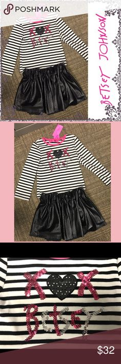 "NWT Betsey Johnson 2pc outfit NWT Betsey Johnson 2pc outfit. Brand new, never worn.  Top is black/white stripes with sequins X ❤️ X Betsey.  The heart is the same material/style as the skirt.  Top measures 14.5"" long, 10"" across chest.  Very soft cotton blend. Skirt is 100% poly faux leather with punch out design.  Double layered, fully lined, elastic waistband.   10.5"" long, 11"" across waist.  Perfect condition!  Excellent holiday gift! Betsey Johnson Matching Sets"