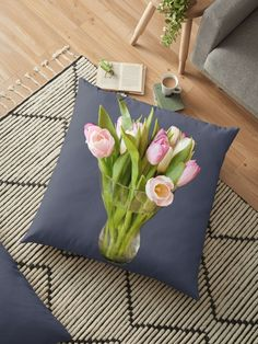 A vase of tulips in tones of pink set against the soft green stems and leaves. Tulips are better than one, when you have a bunch of flowers in a glass vase. Throw Pillows Bed, Bed Throws, Floor Pillows, Decorative Throw Pillows, Cushion Covers, Duvet Covers, Floral Cushions, Block Wall, Pink Tulips