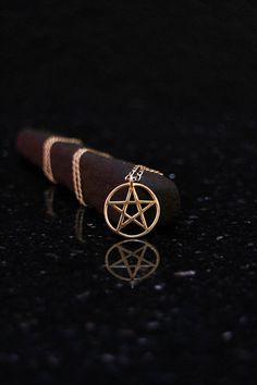 Silver pentacle necklace pentacle pendant silver pentagram 18k gold small pentagram necklace by elfscraft aloadofball Images