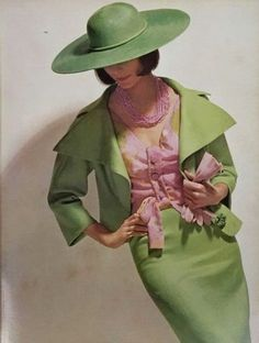 Jean Patou Green & Pink Ensemble 1964 green suit pink blouse shirt hat 60s color photo print ad model magazine fashion style designer
