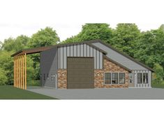 This is a PDF Plan available for Instant bedroom, 2 bath home with 1 RV, bus, or big rig garage and RV port. It has a shop, microwave over range & stacked washer/dryer. Pole Barn House Plans, Garage House Plans, Pole Barn Homes, Shop House Plans, House Floor Plans, House 2, Barn Plans, Pull Barn House, Cottage House