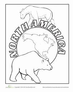 Get started on geography with this pretty coloring page that shows off native North American wildlife, too!