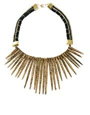 Mango Statement Spike And Rope Necklace