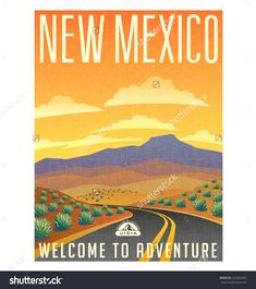 Neptune on created a beautiful series of travel poster vector designs. United States, New Mexico desert mountain landscape. New Mexico, Travel Hack, Travel Trip, Travel Couple Quotes, Alaska, Goals Tumblr, Desert Road, East Coast Road Trip, Landscape Tattoo