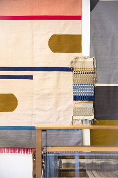 """""""I put up a lot of my work on the walls just to have it and think about it. I take it down when it's run its course. These are some rug samples and ideas for the future, hopefully."""" Clements would love to be able to produce rugs on her own. """"I'm just not big enough yet. I don't have the manpower. So, licensing work, at this point, is good. It gives me a little credibility and it gets some work that I really want to make out into the world but can't necessarily produce in quantity on my own."""""""