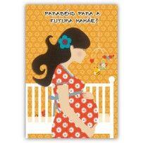 Cartão Artesanal Futura mamãe vestido flores