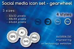 Social media icons - gearwheel by stockimagefolio on Creative Market
