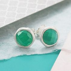 Beautiful and divine, these handmade round sterling silver stud earrings feature a hand-cut semi-precious Green onyx stone. #Embersjewellery #Jewellery #accessories #giftforher #green #onyx