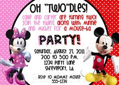 mickey and minnie mouse twin birthday party invitation  bd, invitation samples