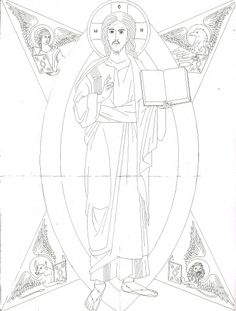Religious Icons, Religious Art, Colouring Pages, Coloring Books, Church Banners, Byzantine Icons, Orthodox Icons, Black And White Design, Painting Lessons