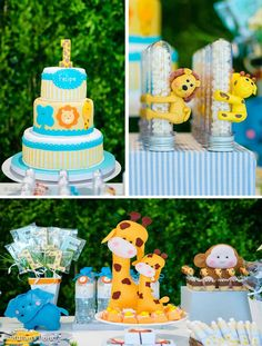 Zoo Themed 1st Birthday Party Lion Monkey Elephant Giraffe Blue Kids Boy Girl Baby Shower