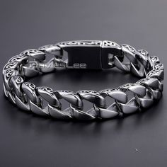 Cheap steel bracelet, Buy Quality stainless steel bracelet directly from China stainless steel bracelet Suppliers: Davieslee Men's Bracelet Stainless Steel Bracelet Curb Chain Fashion Jewelry Boys Bracelets, Silver Bracelets, Link Bracelets, Bangle Bracelets, Silver Jewelry, Heart Keyring, Chains For Men, Leather Cuffs, Wholesale Jewelry