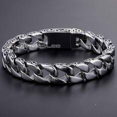 Davieslee 11mm Mens Chain Boys Bracelet Silver Tone 316L Stainless Steel Bracelet Flat Curb Link Wholesale Jewelry DLHB30