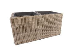 Small Square Resin Wicker Plant Pots with 2 Plastic inlay - BS107
